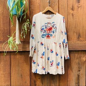 Asos floral embroidered mini babydoll dress sz 12